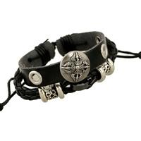 Runderlederen armband verstelbaar 12mm breed lengte: c.a. 22cm zwart