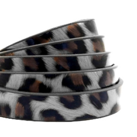 1 meter plat 10 mm imi leer leopard print Graphite grey