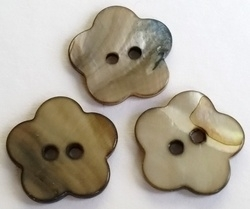 Per stuk schelpkraal rond Bruin bloem knoopmodel 20 mm