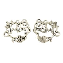 """3x Tibetaans zilveren bedel hanger met """"Mom"""" 24 x 26 x 3mm, oogje:  2mm"""