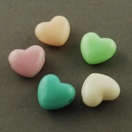 10 stuks Jelly style siliconen kralen mix hart  15,5 x  9mm gat: 3mm  assortiment