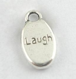"""10 stuks Tibetaans zilveren bedeltjes """"Laugh"""" 8,5 x 15,5 x 3mm gat 2,5 mm"""