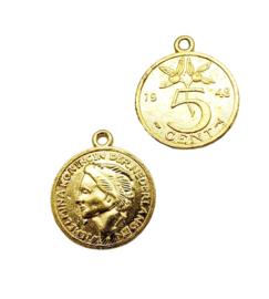 2 stuks goudkleur bedels van 5 cent Nederland 24,7 x 21mm oogje 1,7mm