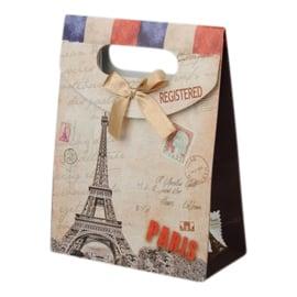 Cadeautasje kraft papier afmeting: 165 x 125 x 56mm met strikje Parijs B (op = op!)