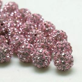 1 x prachtige Shamballa Resin strass ballen 12 mm gat: 2mm roze