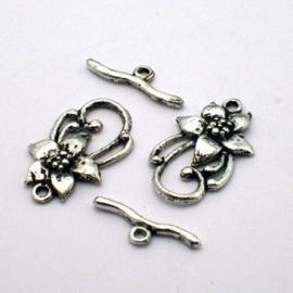 4 x hele mooie Tibetaans zilveren sluiting (Zilverkleur)