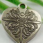 2x Tibetaans zilveren hanger van een hart 25 x 21 x 1,5mm gat: 2mm
