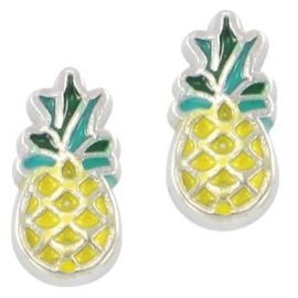 2 x Floating Charms Ananas Antiek Zilver 10x5 mm