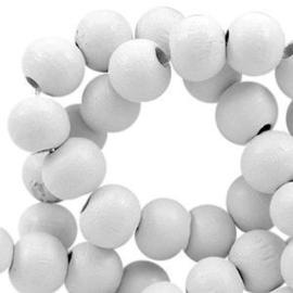 20x Hout kraal 8 mm  Grey White