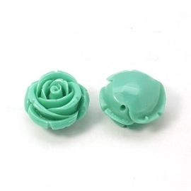 4 x Resin synthetisch koraal roosje 20 x 14 x 1,5mm