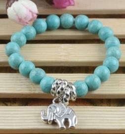 Prachtige Turquoise armband met olifanten bedel Elastiek