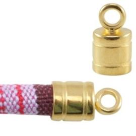 1x DQ metaal eindkapje met oog voor 6 mm koord Goud 14x12 mm Ø 6.0 mm