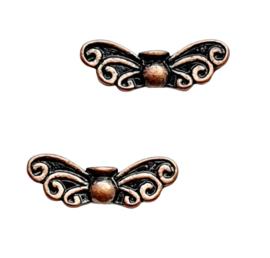 10 stuks tibetaans zilveren vlinder vleugel 6 x 22 x 4mm oogje: 1mm rood koper kleur