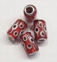 Per stuk Glaskraal met metaal European-style Rood met stippen 17 mm