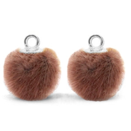 2 x Pompom bedels met oog faux fur 12mm Red brown-silver