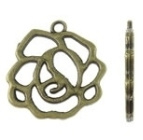 10x Tibetaans zilveren hanger van een bloem roos geel koper kleur 22 x 23 x 2mm Gat: 2mm