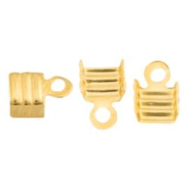 10 x Onderdelen DQ metaal veterklem 3mm Goud (nikkelvrij)