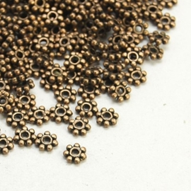25 stuks tibetaans zilveren kralen tussenzetsels 4mm rood koper kleur  gat: c.a. 2mm
