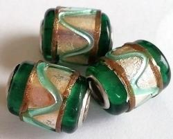 Per stuk Glaskraal met metaal European-style Groen zilverfolie 16 mm