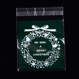 c.a. 95~100 cellofaan zakjes kerst donker groen kerstkrans