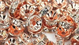 50 stuks rose gold vergulde Kristal Rondellen 8mm