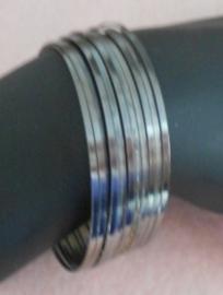 Platte Memory wire voor armbanden 55 mm gunmetal (donker zilver) 25 wendingen plat 1,2 x 0,5mm