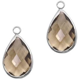 Per stuk Hanger van crystal glas druppel 10x14mm Greige crystal-silver