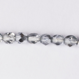 Streng met c.a. 126 stuks ronde Tsjechië facet kristal kraal afm: 4mm Kleur: blauw grijs gat c.a.: 1mm