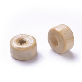 100  stuks Houten kraal disc beige 6 x 3mm gat: 2mm