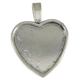 Houder hart platinum binnenzijde c.a. 25 x 26mm