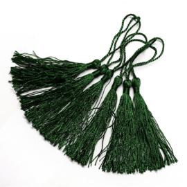 2 x Satijn kwast lengte kwast 9 cm incl. lus 130 x 6mm dark green