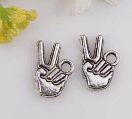 """5 x tibetaans zilveren peace """"vrede"""" bedeltje 15x10mm"""