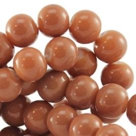 10 stuks Keramische glaskralen  10mm  Nude beige bruin