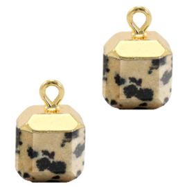 1 x Natuursteen hangers square Greige-gold Spotted stone