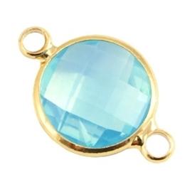 Crystal glas tussenstukken rond 12mm Aqua blue opal-Gold
