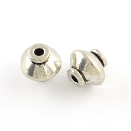 10  Stuks Tibetaans zilveren kralen 7 x 7 mm gat: 2mm