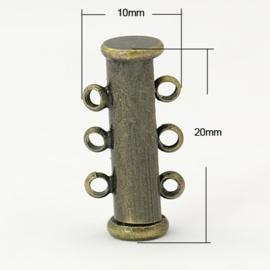 Magneetsluiting 3 strengen 10 x 20 x 6mm oogje 1mm geel koper kleur