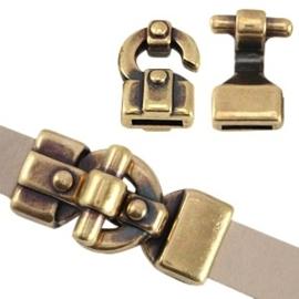 DQ metaal haak slot (voor 10mm plat DQ leer of trendy koord) Antiek brons (nikkelvrij)