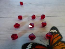 10 x Preciosa Kristal Bicone afmeting ca. 6mm oogje:1.3mm