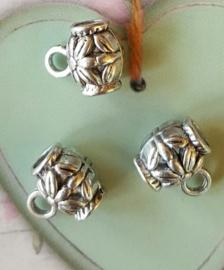10 x Tibetaans zilveren bails hanger 8 x 10mm Ø 3,6mm oogje: 1,4mm