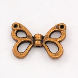 10 stuks tibetaans zilveren vlinder vleugel 15 x 10 x 3mm Gat: 1mm rood koper kleur