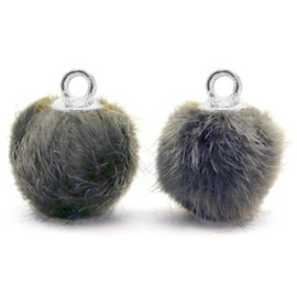 2 x Pompom bedels met oog faux fur 12mm Dark grey-silver