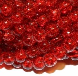 30 stuks crackle glas kralen 8mm rood
