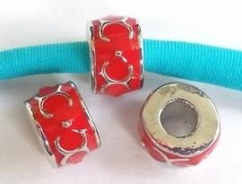 Per stuk European Jewelry kraal met Rode epoxy antiek zilver 11 mm