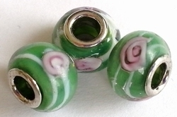 Per stuk Glaskraal European style Groen bloemen 14 mm
