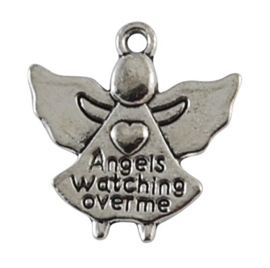 4 x Tibetaans zilveren bedel: Angels watching over me 19 x 19 x 3mm Gat: 2mm