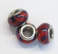 Per stuk European-style kraal Rood met blauwe streepjes 13 mm