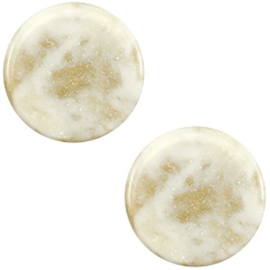 1 x 12 mm platte cabochon Polaris Elements Stardust Cream white