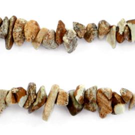 20 x Chips stone kralen Earth brown c.a 7 mm