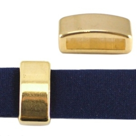 2 x DQ metaal schuiver blokje Goudkleur (nikkelvrij) ca. 8 x 5 mm (Ø 5.2x2.2mm)